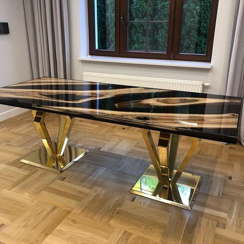 Black epoxy live edge table