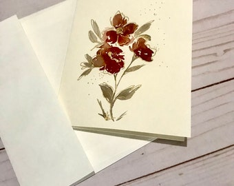 All occasion hand painted greeting card/elegant floral birthday card/Mother's Day card/sympathy card/blank greeting handmade card