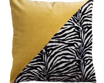 Yellow zebra pillow   Etsy