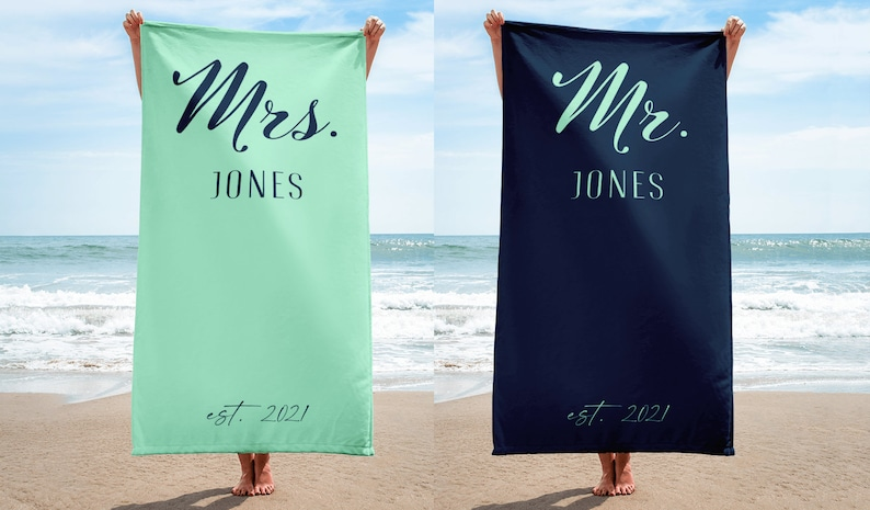 Mrs and Mr Beach Towels