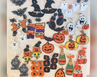 Just In!! Halloween earrings, Jack-o'-lantern, Witches  hat, Spiders, Ghost, pumpkin, beaded earrings, Halloween themed jewelry