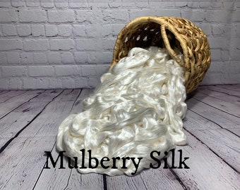 Mulberry (Bombyx) Silk Combed Top / Roving Fiber 4 ounces