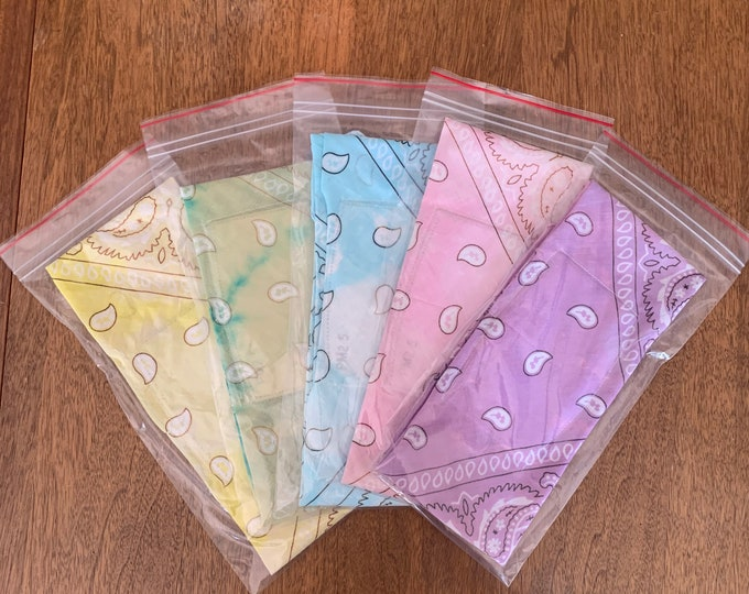 Bandana Mask Face Covers  Cotton with 15 Filters    Pastel Color Mix B - 5 Pack