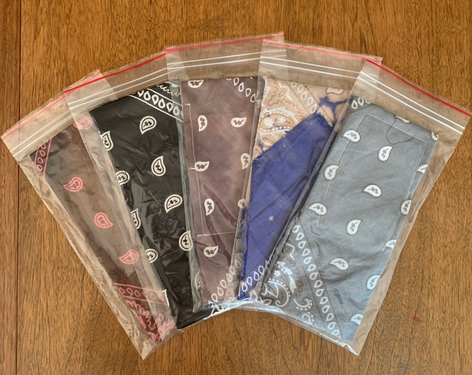 Bandana Mask Face Covers  Cotton with 15 Filters    Neutral Color Mix - 5 Pack