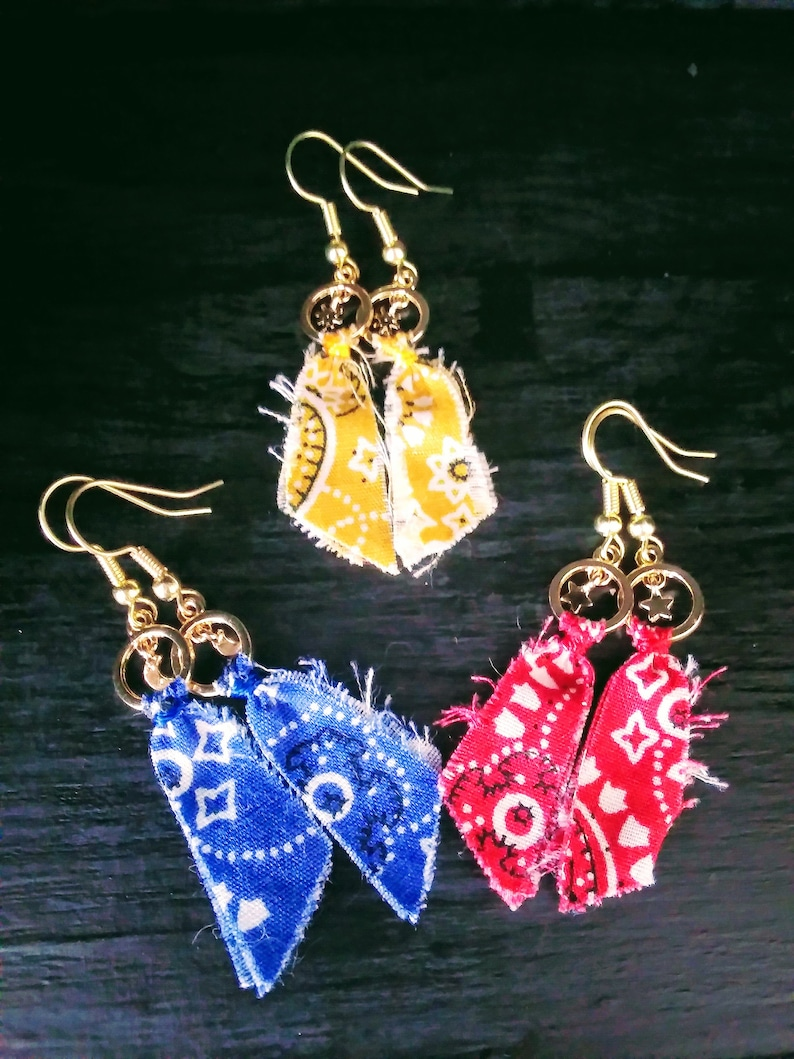 red earrings gold blue has moons and yellow earrings Bandanna earrings blue yellow has sun/'s and red has stars handkerchief earrings