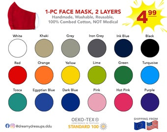 50% OFF SALE Face Mask | Breathable Mouth Mask | Cloth Face Mask | Solid Colors | Plain Black & White | Kids, Teens, Adults