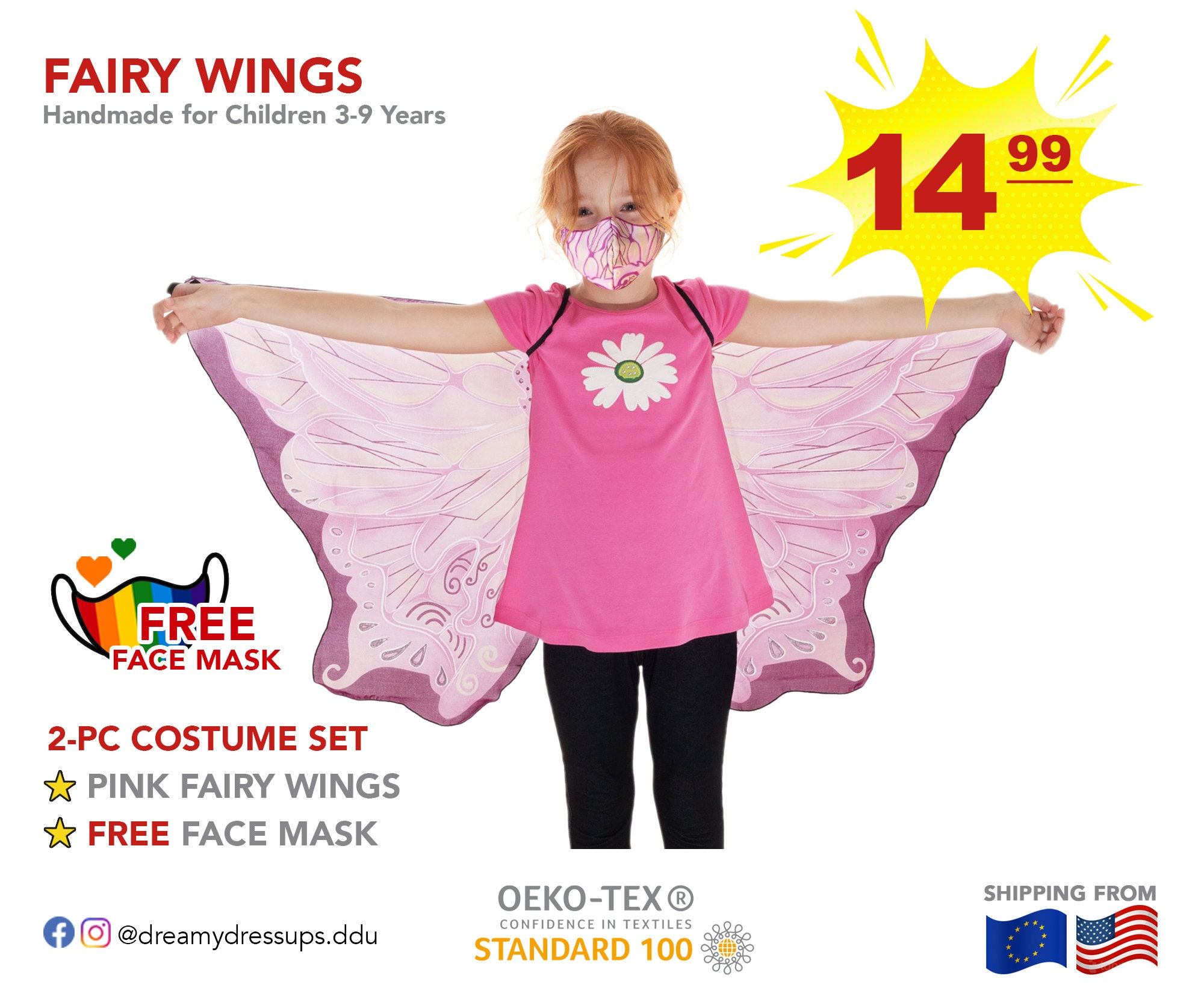 CLOSURE SALE Wings Free Face Mask Daycare or School in Fashion Pink Fairy Dress Up Outfit for Kids 3 to 9 Years to Buzz around Home