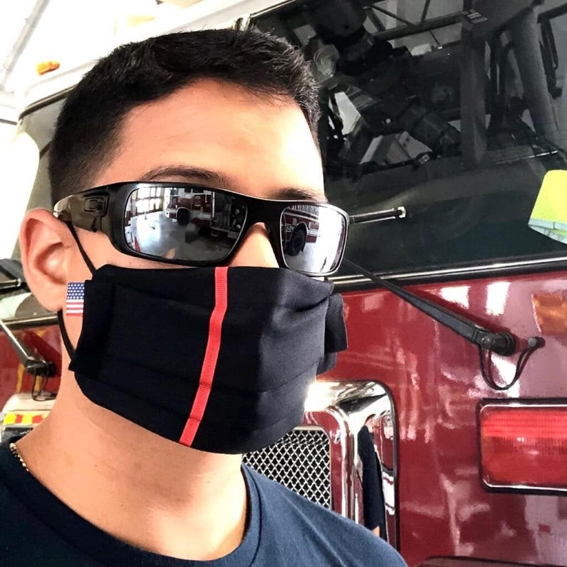 Thin Red Line Firefighter Reusable Face Mask with Filters image 0