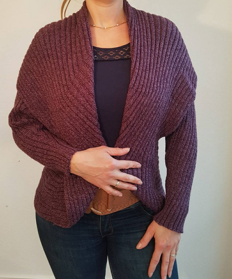 knitted unique lilac violet mottled Circular cardigan in alpaca wool