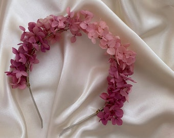 Crown whith stabilized rose hydrangea - Flowers crown for elegant woman - Bridesmaid flowers accessories - Flower bride hairstyle