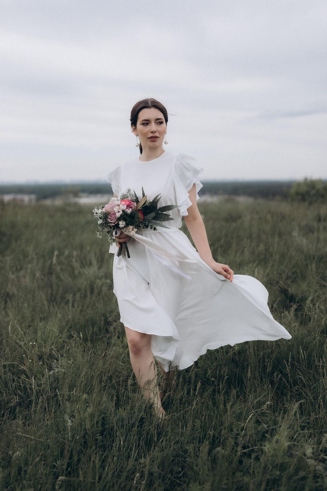 Simple wedding dress, white wedding dress, wedding white dress, midi white dress, midi wedding dress, summer wedding dress, summer dress