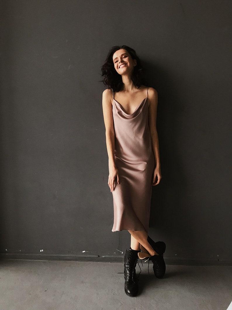 Midi silk slip dress