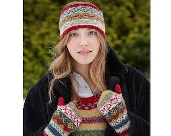 Women's Fair Isle Headband, Hand Knitted, 100% Wool Cosy Headwarmer, Patterned Design, Fair Trade, Warm, Earwarmer, Finisterre, Fleece Lined