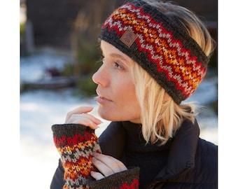 Women's Fine Knit Fair Isle Bobble Beanie, 100% Wool Fair Trade Winter Hat Headband, Fingerless Gloves, Charcoal Smoke Diamond Matching Set