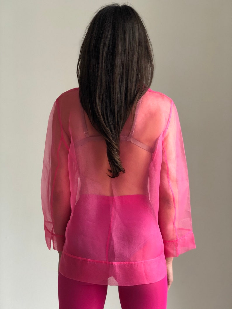 Vintage organza blouse top Pink sheer blouse button up long sleeve collared See through shirt women SM size