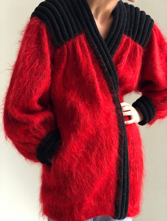 Vintage fluffy mohair knit cardigan 80s Red Fuzzy