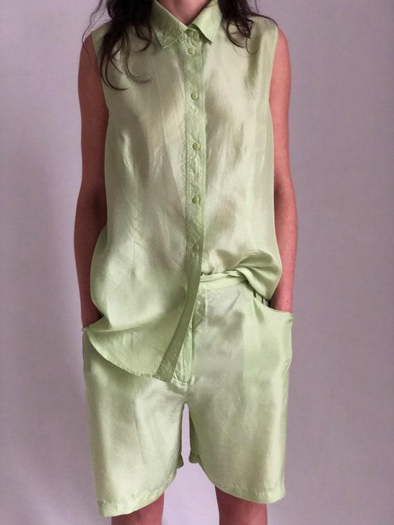 Vintage silk 2 pieces set Pistachio sleeveless shi