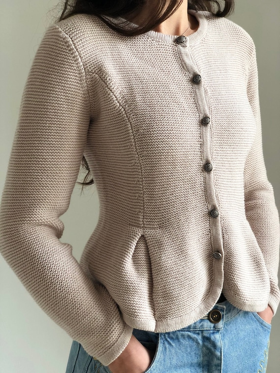 Rare vintage 80s folk mutton sleeve traditional Austrian trachten hand knitted wool cardigan size SM in light gray