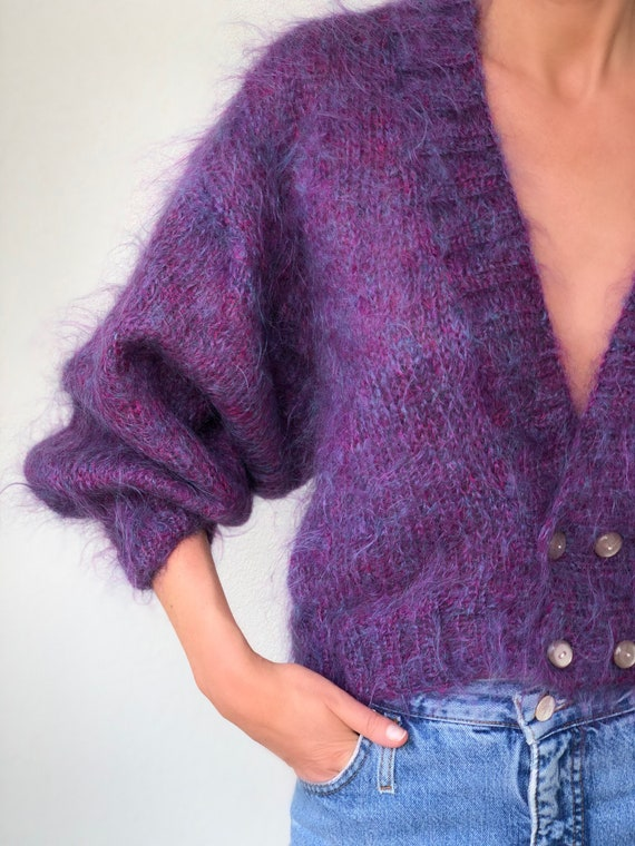 Vintage fluffy mohair knit cardigan cropped Purple