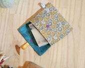 Solid soap pouch in ochre and gold floral cotton, waterproof interior