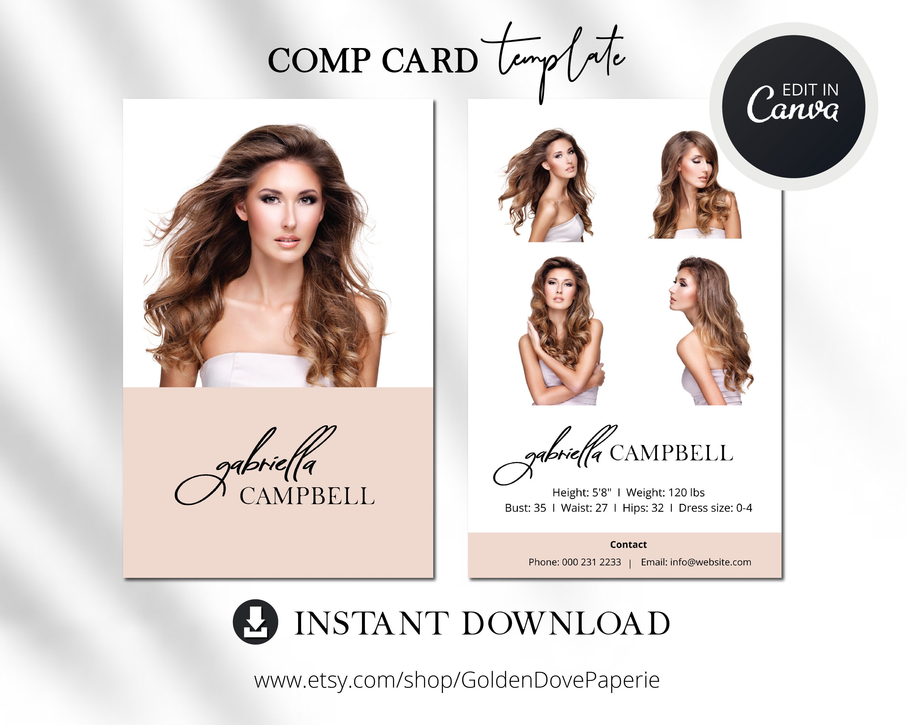 Model COMP CARD TEMPLATE Canva Template Comp Card Easy Inside Download Comp Card Template