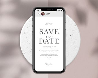 Digital Save the Date Card to Send WhatsApp - Online Wedding Invitation Personalized Simple #2