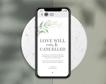 """Digital Change the Date Card """"Love will never be cancelled"""" to send WhatsApp - Online Wedding Invitation Personalized Greenery #3"""