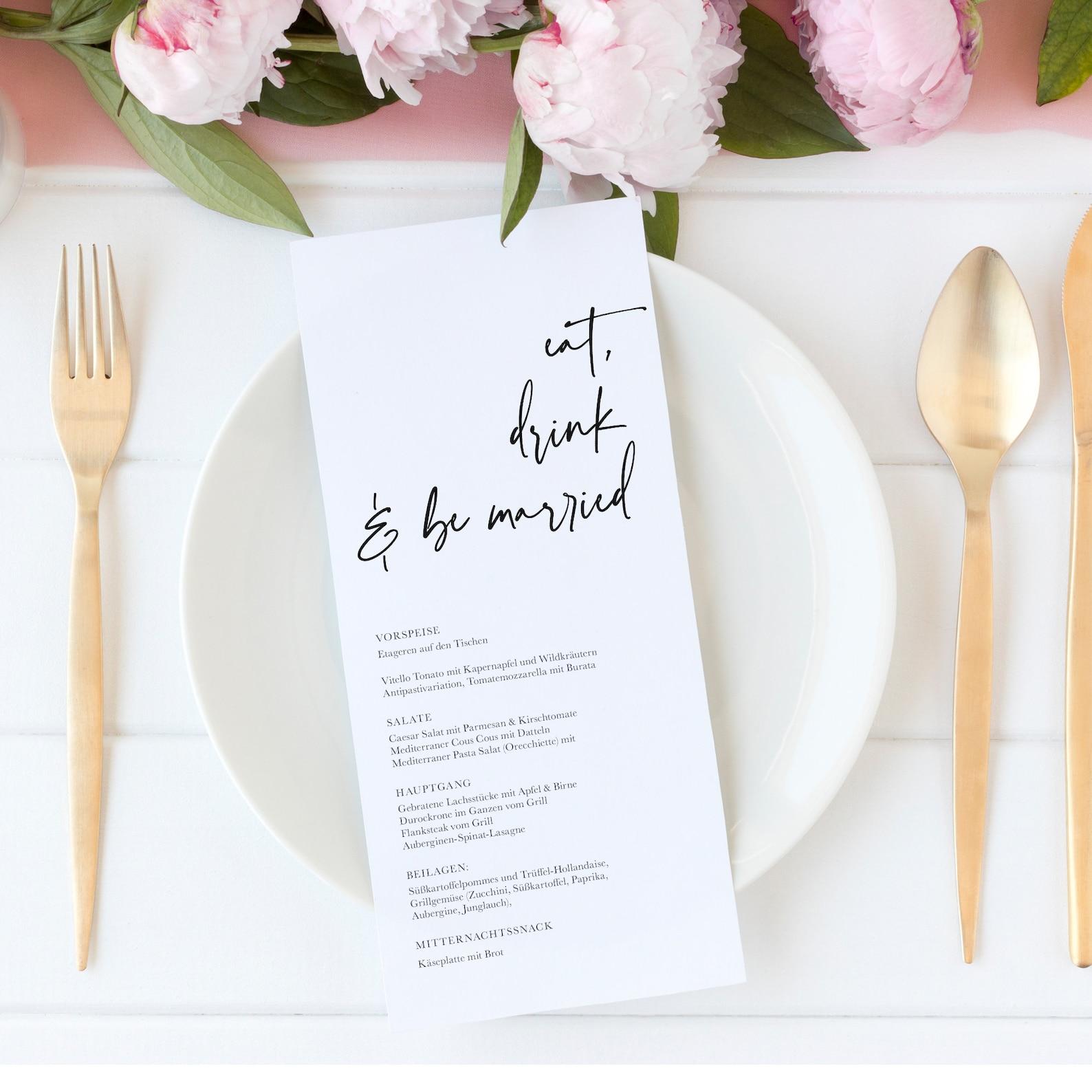 Menükarte Hochzeit schlicht