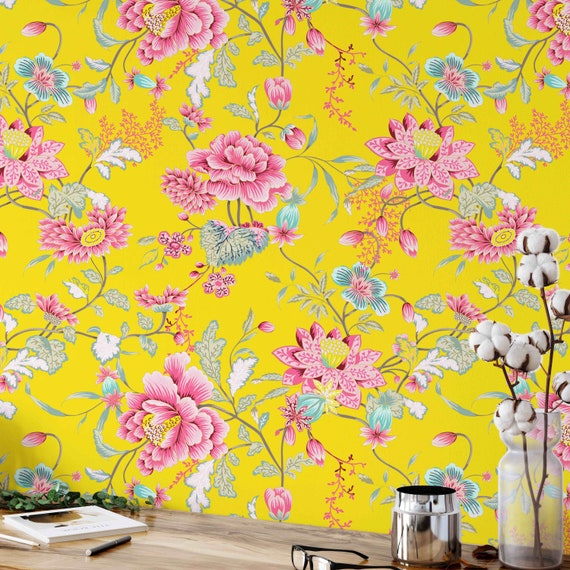 asian floral wallpaper Asian wallpaper removable wallpaper oriental japanese, chinoiserie wall decor vintage wallpaper wallpaper