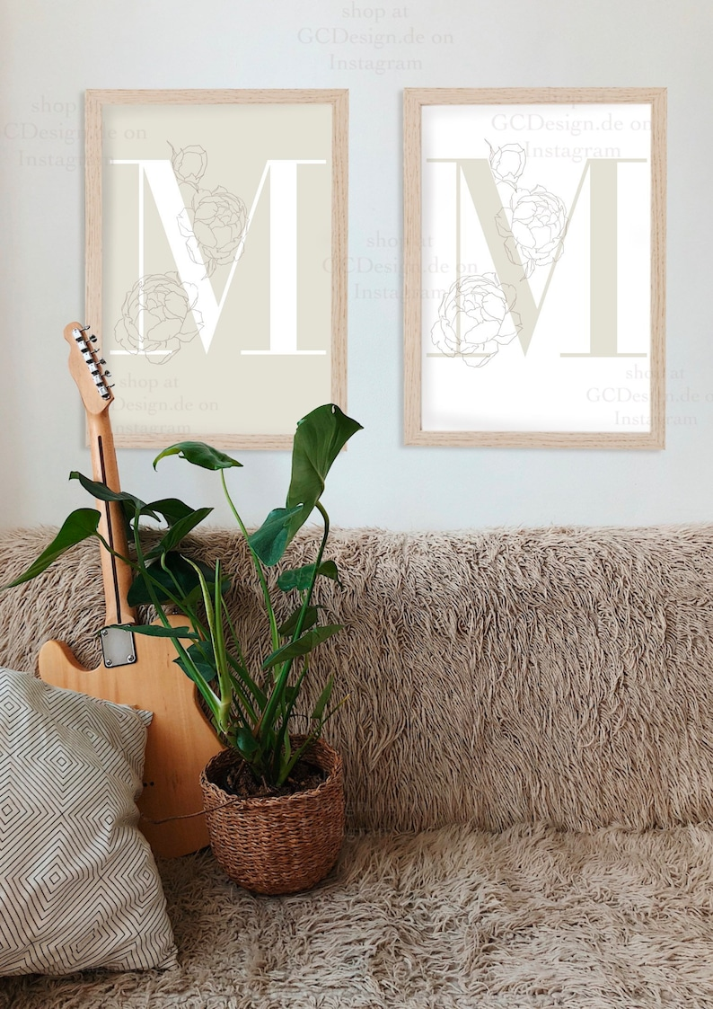 M initial letter print I A3 A4 A5 poster personalized customizable wall decoration hanging picture frame lineart flower rose minimal name