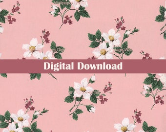 Colorful Floral Digital Vintage Wallpaper for Instant Download 1930s Antique Wallpaper Design from Hannah/'s Treasures Collection