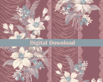 Digital Vintage Wallpaper for Instant Download, 1950s Wallpaper Design from Hannahs Treasures Collection, White Blue Flowers on Burgundy