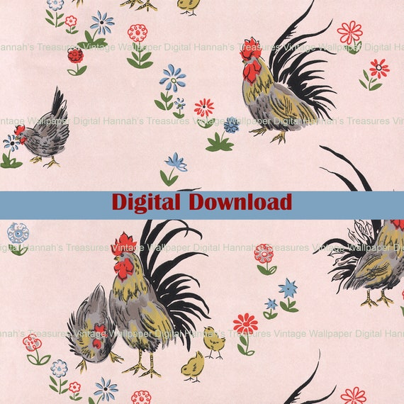 Colorful Pastel Flowers Digital Vintage Wallpaper for Instant Download 1950s Floral Wallpaper Design from Hannah/'s Treasures Collection