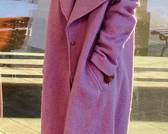 Long Wool Coat, Oversize wool coat, Wool Coat with satin lining  Women Coat with belt, Warm Overcoat, Double breasted wool coat, ANMATE SHOP