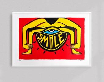 Smile     Limited Edition Handprinted Screenprint Art