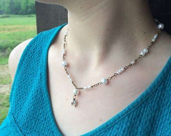 Faux Pearl and Antique Bronze Beaded Necklace