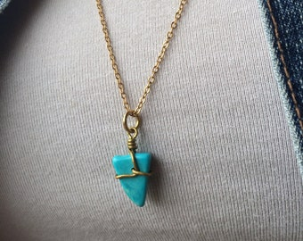 Gold Wrapped Turquoise Arrow Pendant Necklace