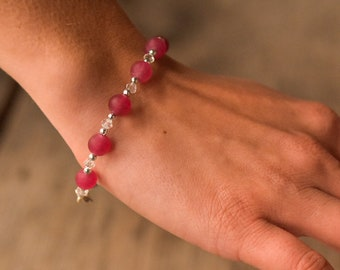 Pink Frosted Agate and Crystal Beaded Bracelet