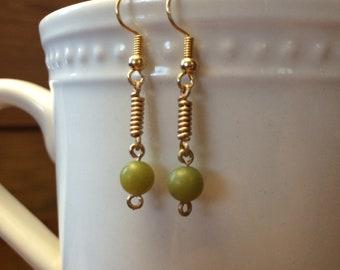 Olive Green Beaded Earrings