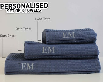Personalised Embroidered Set Of 2 Towels GIFT BOX - Personalised Initials on Bath Towel, Hand Towel or Face towel (Perfect Mothers Day Gift)