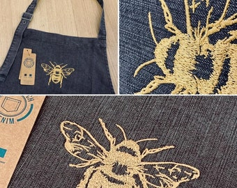 Embroidered Denim Apron - Embroidered Manchester Bee Chef Apron (WITH POCKETS)