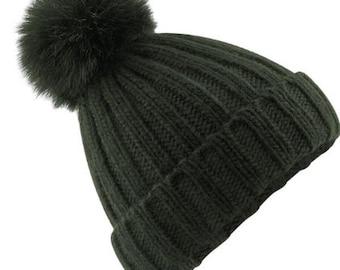 Black Single Pom Pom Bobble Beanie Ski Hat
