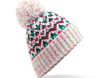 Blizzard Bobble Beanie 'Sherbet Dip ' - Winter Beanie 2021 (Warm, Stylish, Luxury Bobble Beanie Hat)