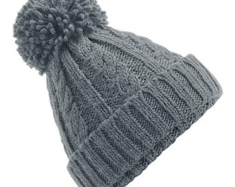 Light Grey Cable Knit Melange Beanie - Winter Beanie 2021 (Warm, Stylish, Luxury Bobble Beanie Hat)