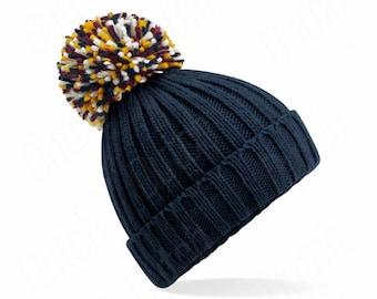 French Navy ,  Hygge Beanie - Winter Beanie 2021 (Warm, Stylish, Luxury Bobble Beanie Hat)