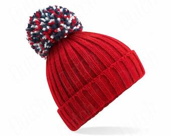 Classic Red,  Hygge Beanie - Winter Beanie 2021 (Warm, Stylish, Luxury Bobble Beanie Hat)
