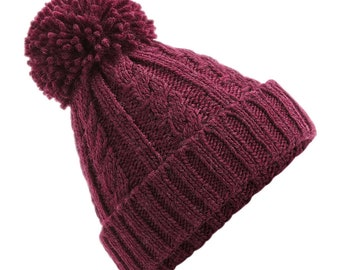 Burgundy Cable Knit Melange Beanie - Winter Beanie 2021 (Warm, Stylish, Luxury Bobble Beanie Hat)