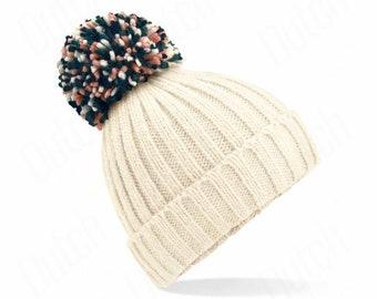 Off White ,  Hygge Beanie - Winter Beanie 2021 (Warm, Stylish, Luxury Bobble Beanie Hat)