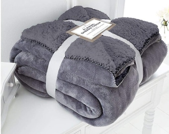 Embroidered Super Soft Luxury Flannel Sherpa Throw Blanket (With PERSONALISED EMBROIDERY)
