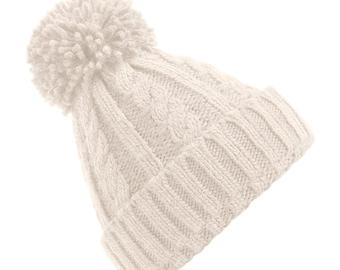 Oatmeal Cable Knit Melange Beanie - Winter Beanie 2021 (Warm, Stylish, Luxury Bobble Beanie Hat)